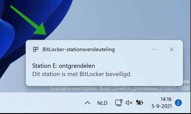 Dit station is met Bitlocker beveiligd melding