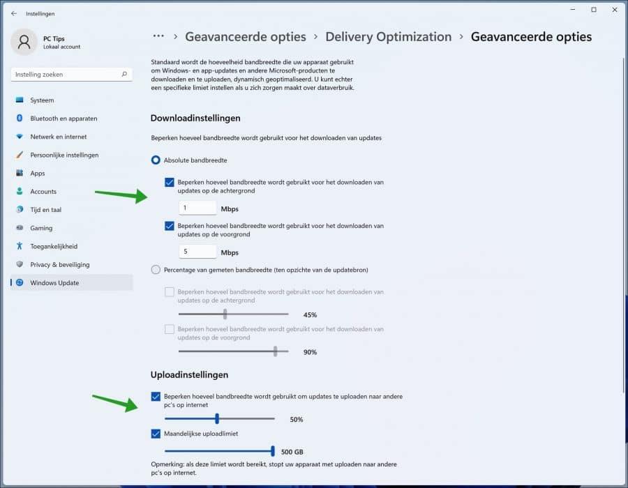 Download instellingen wijzigen in Windows 11