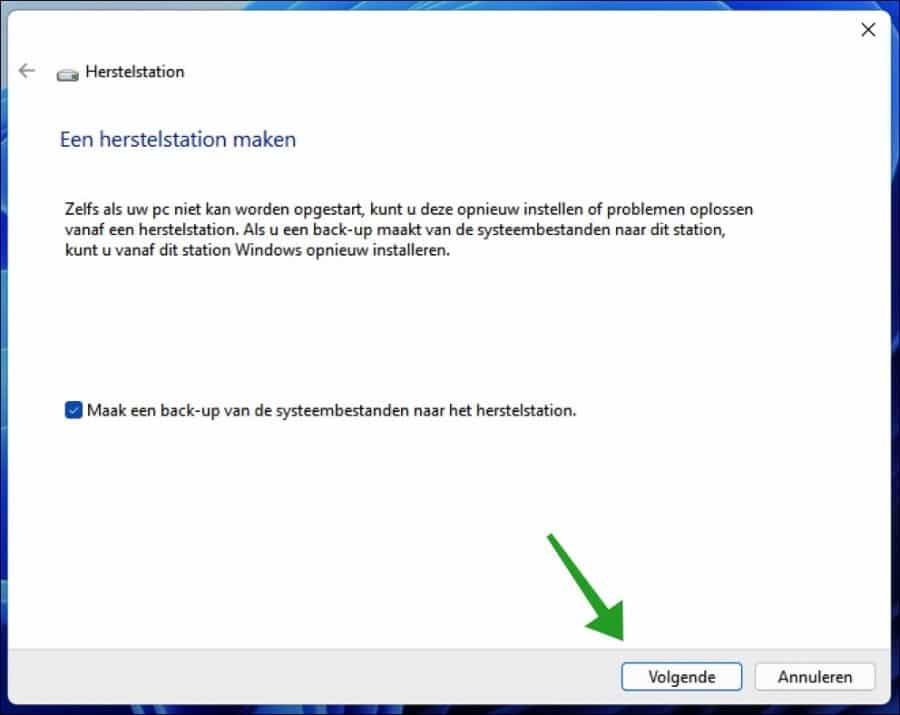 Een herstelstation maken in Windows 11