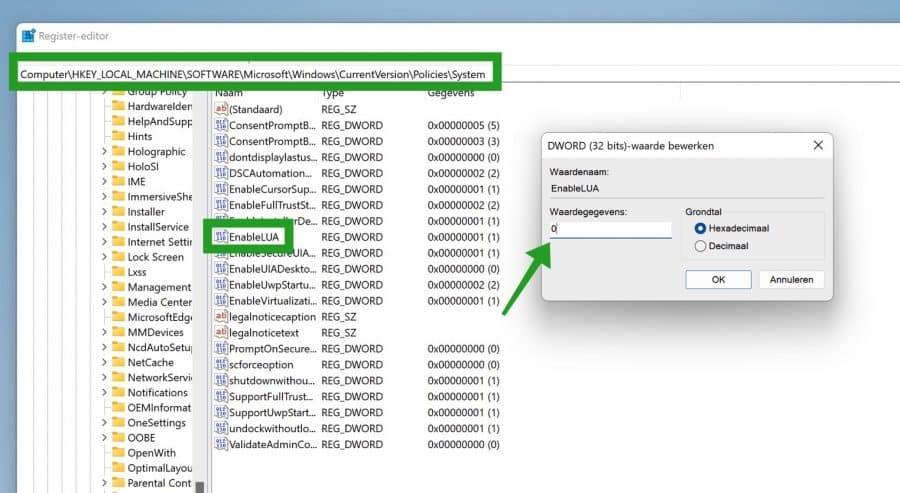 EnableLUA in Windows 11 register
