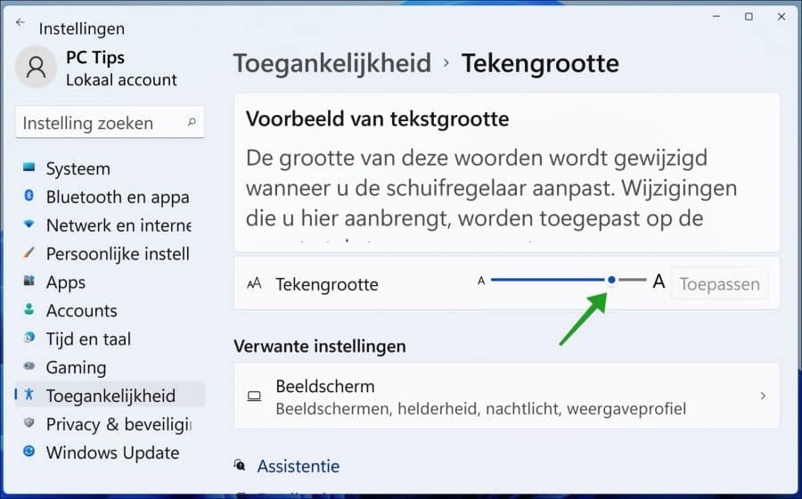 Formaat van lettertype aanpassen in Windows 11