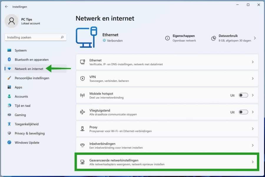 Geavanceerde netwerkinstellingen