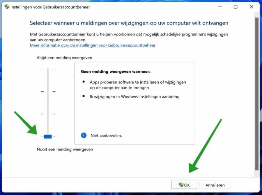 Gebruikersaccountbeheer uitschakelen in Windows 11