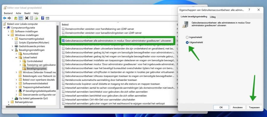 Gebruikersaccountbeheer uitschakelen via Groepsbeleid in Windows 11