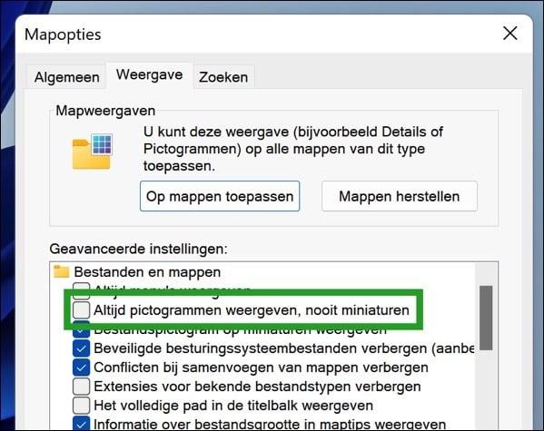 Miniaturen aanpassen in Windows 11