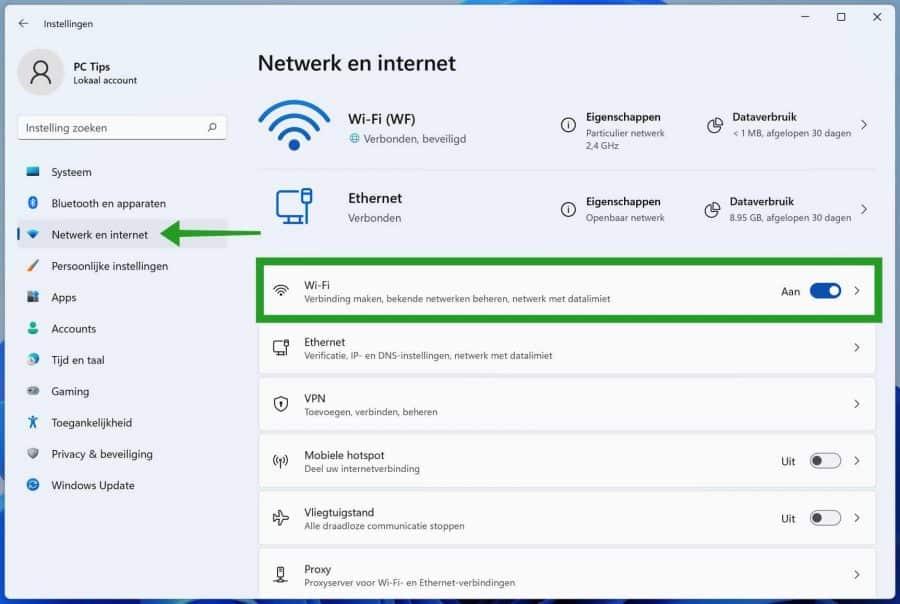 Netwerk en internet instellingen