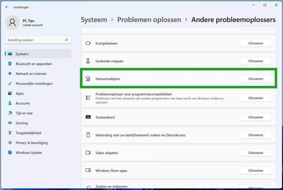 Netwerkadapter probleemoplosser in Windows 11