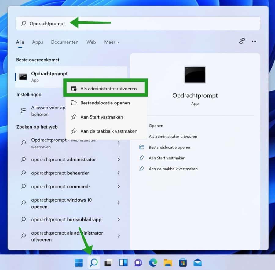 Opdrachtprompt openen als Administrator in Windows 11
