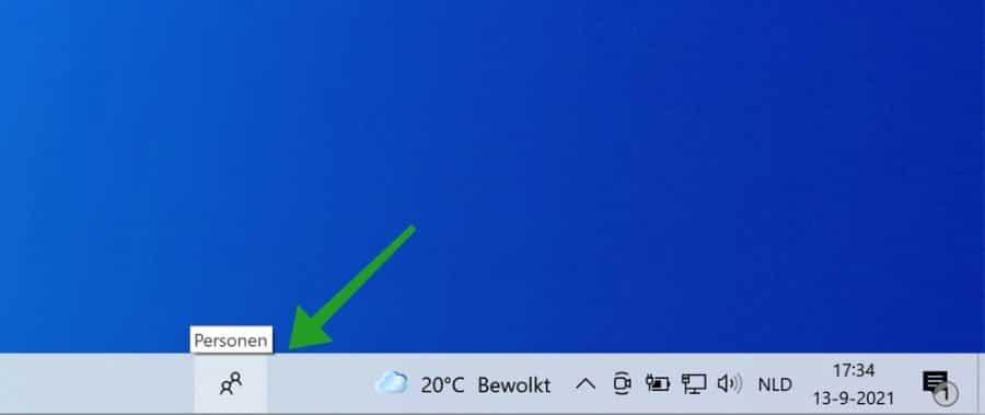 Personen app in de taakbalk in Windows