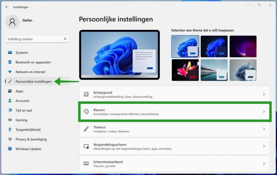 Persoonlijke instellingen in Windows 11