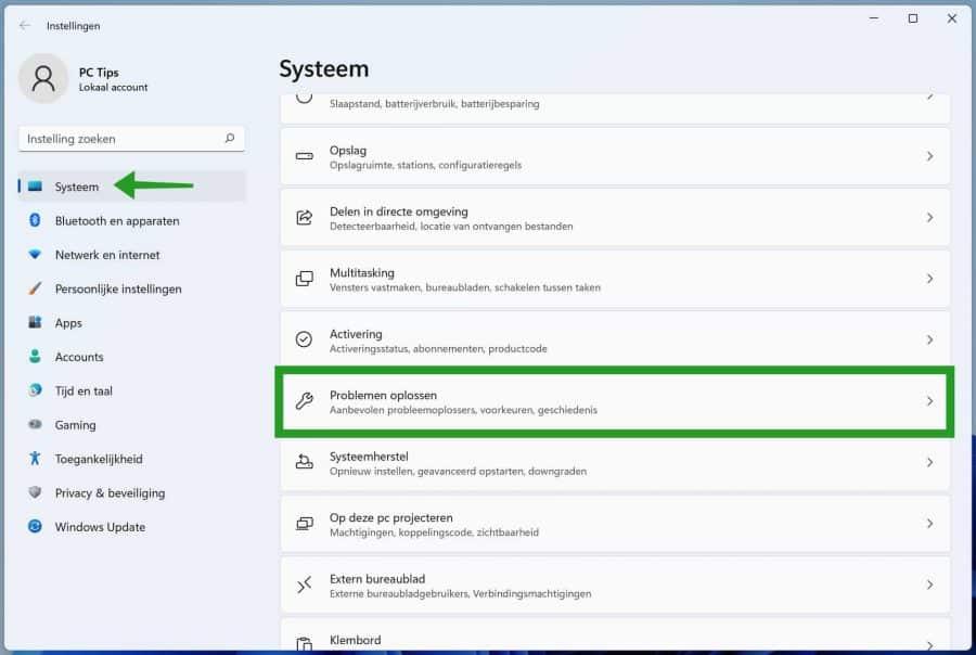 Problemen oplossen in Windows 11