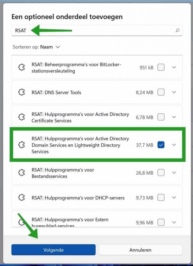RSAT Active Directory domain services installeren in Windows 11