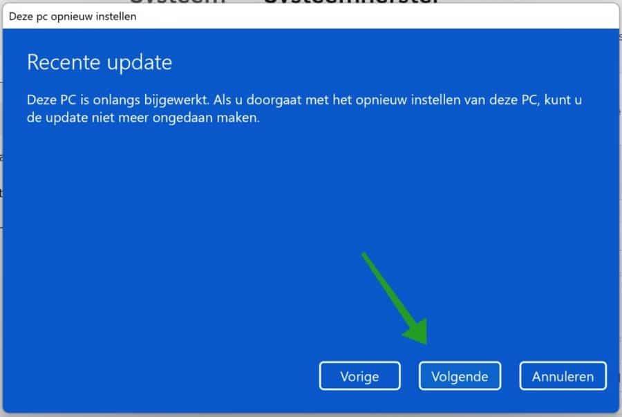 Recente update melding tijdens Windows 11 installatie