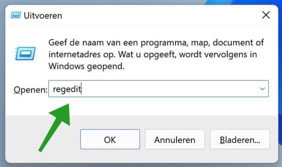 Regedit openen in Windows 11