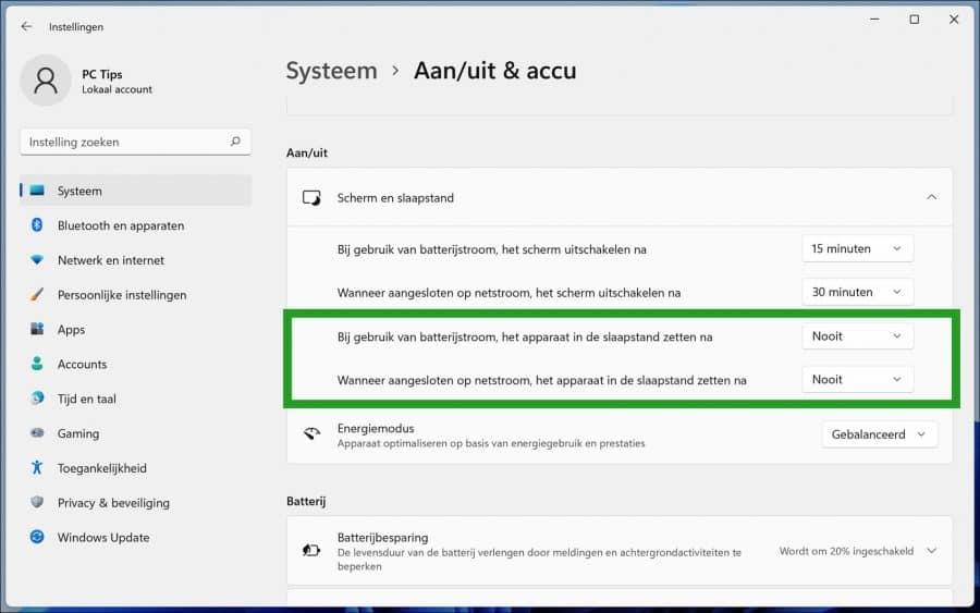 Slaapstand uitschakelen in Windows 11