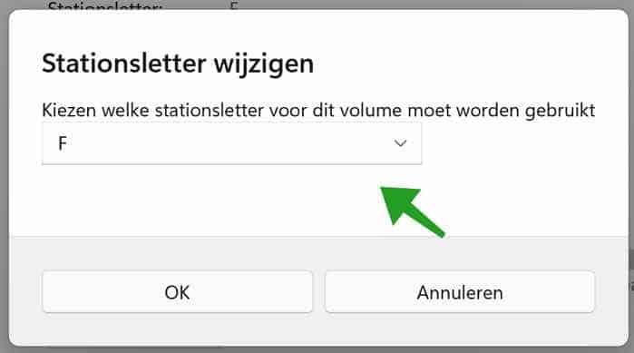 Stationsletter aanpassen in Windows