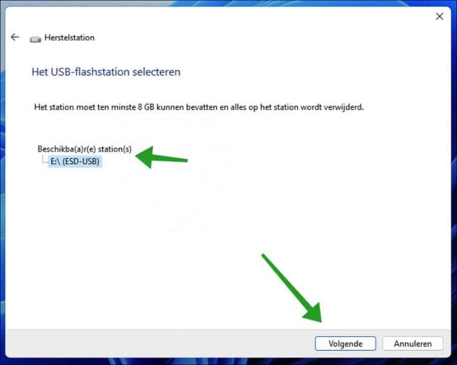 USB-stick voor herstelschijf selecteren