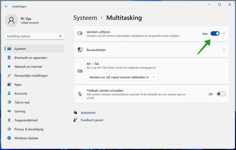 Vensters uitlijnen inschakelen in Windows 11