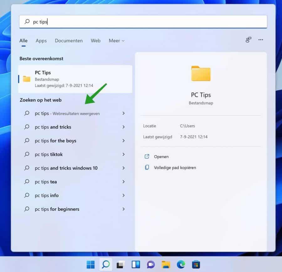 Webresultaten bing zoekmachine in Windows zoeken