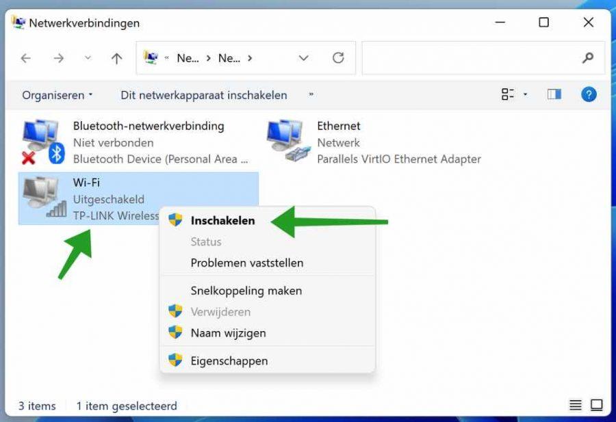 Wifi adapter inschakelen in Windows 11