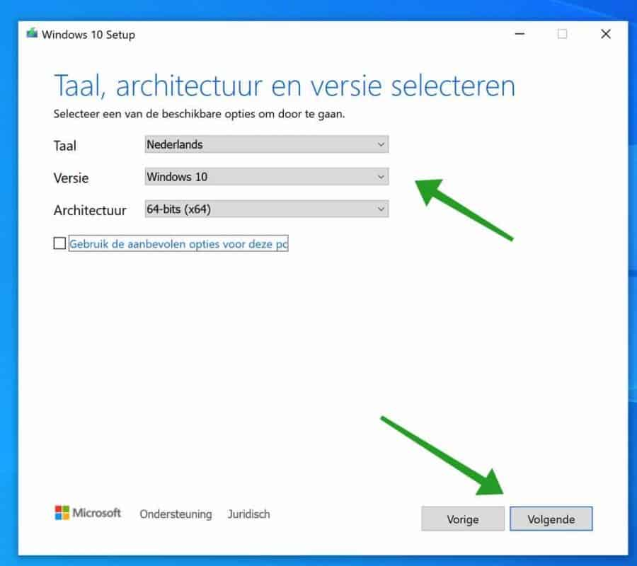 Windows 10 architectuur en versie selecteren voor installatie op usb