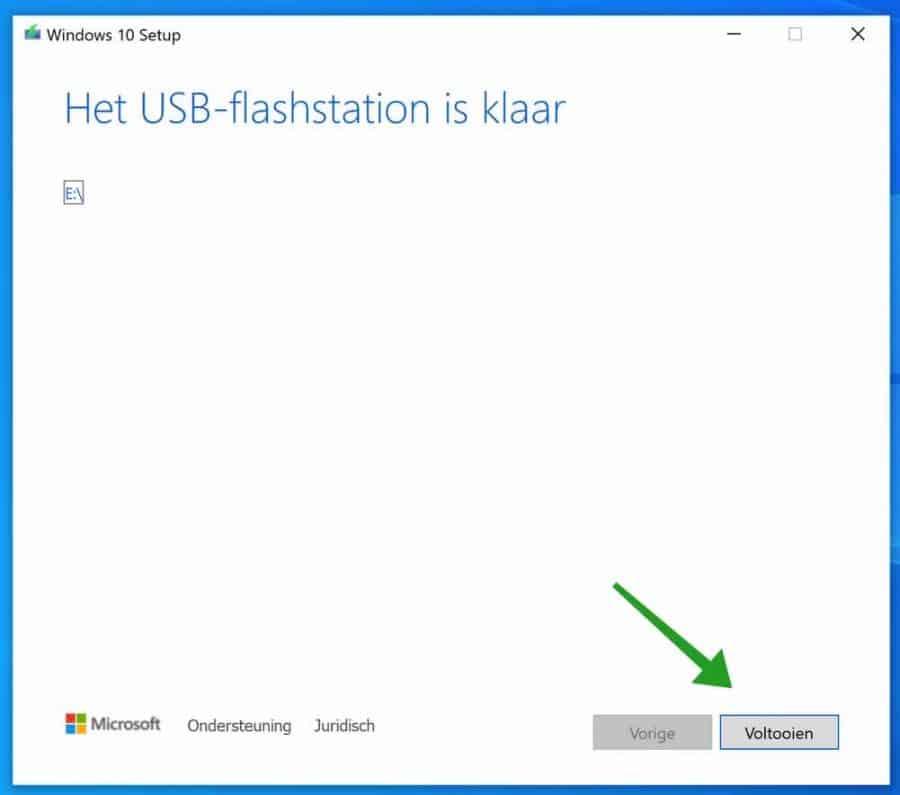 Windows 10 usb installatiemedia afgerond