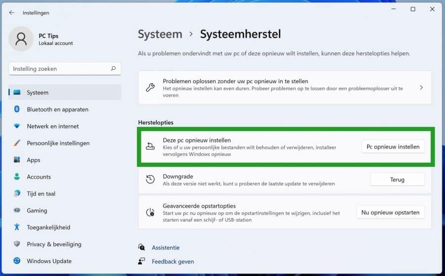 Windows 11 Deze PC opnieuw instellen