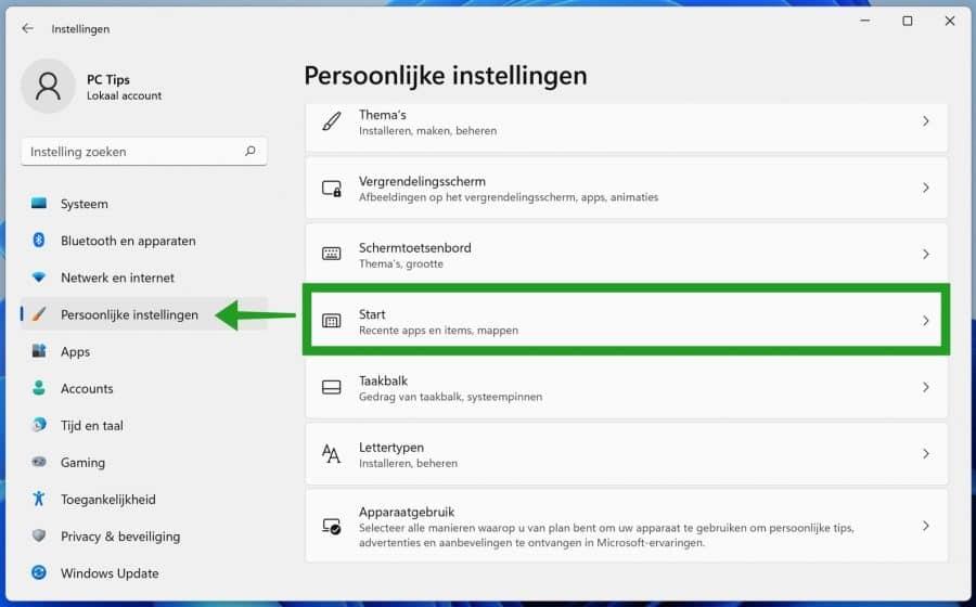 Windows 11 persoonlijke instellingen