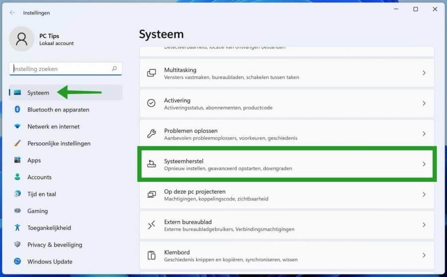 Windows 11 systeemherstel openen
