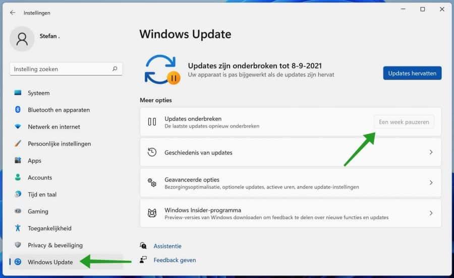 Windows 11 updates pauzeren voor een week