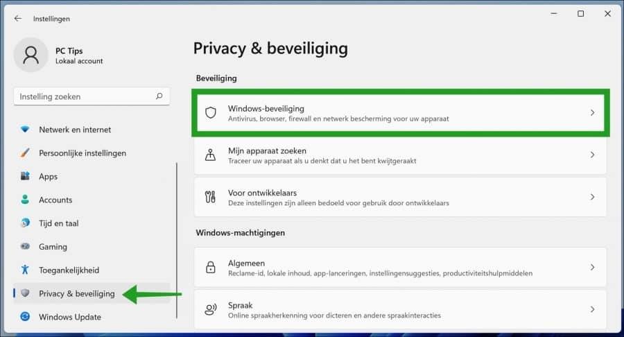 Windows-beveiliging instellingen openen