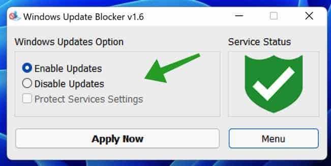 Windows update blocker hulpmiddel
