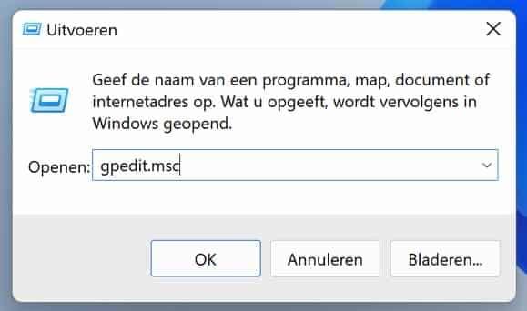 gpedit msc openen in Windows 11