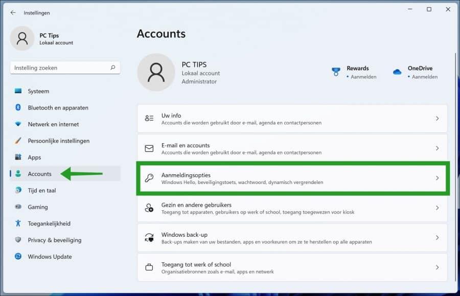 Aanmeldingopties in Windows 11