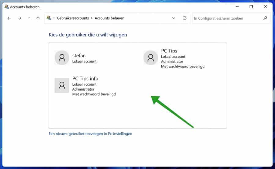 Account selecteren in Windows 11