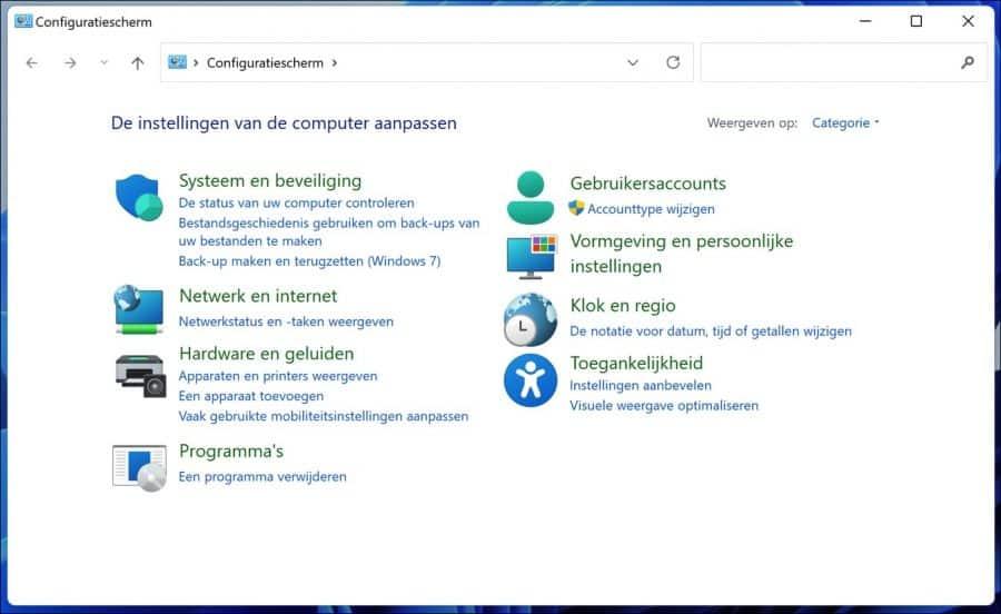 Configuratiescherm in Windows 11 openen