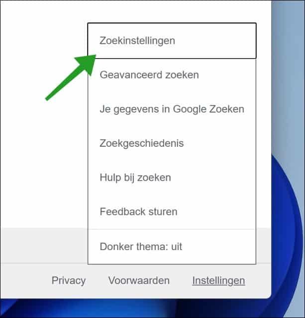Google chrome zoekinstellingen