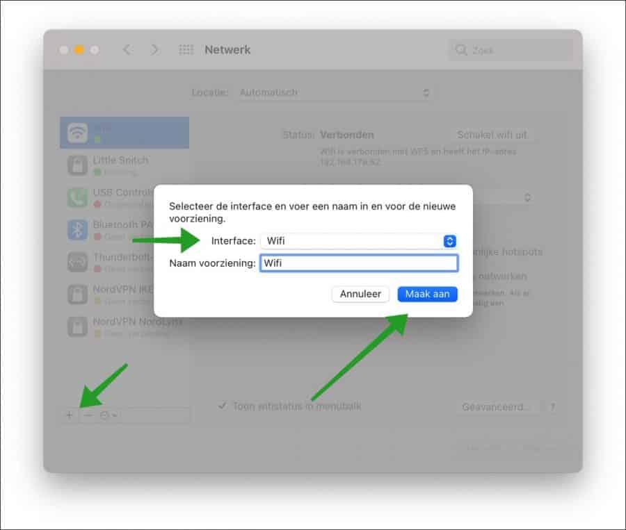 Nieuwe wifi aanmaken op mac