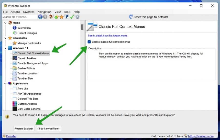 Oude contextmenu terugzetten in Windows 11