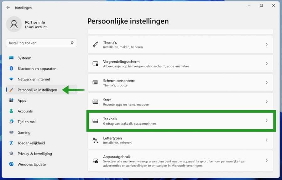 Taakblak instellingen in Windows 11