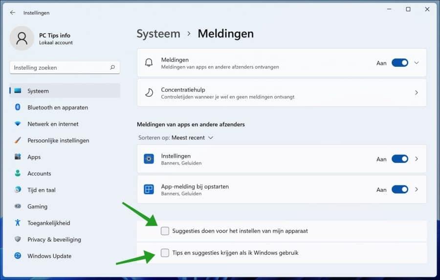Tips en suggesties uitschakelen in Windows 11