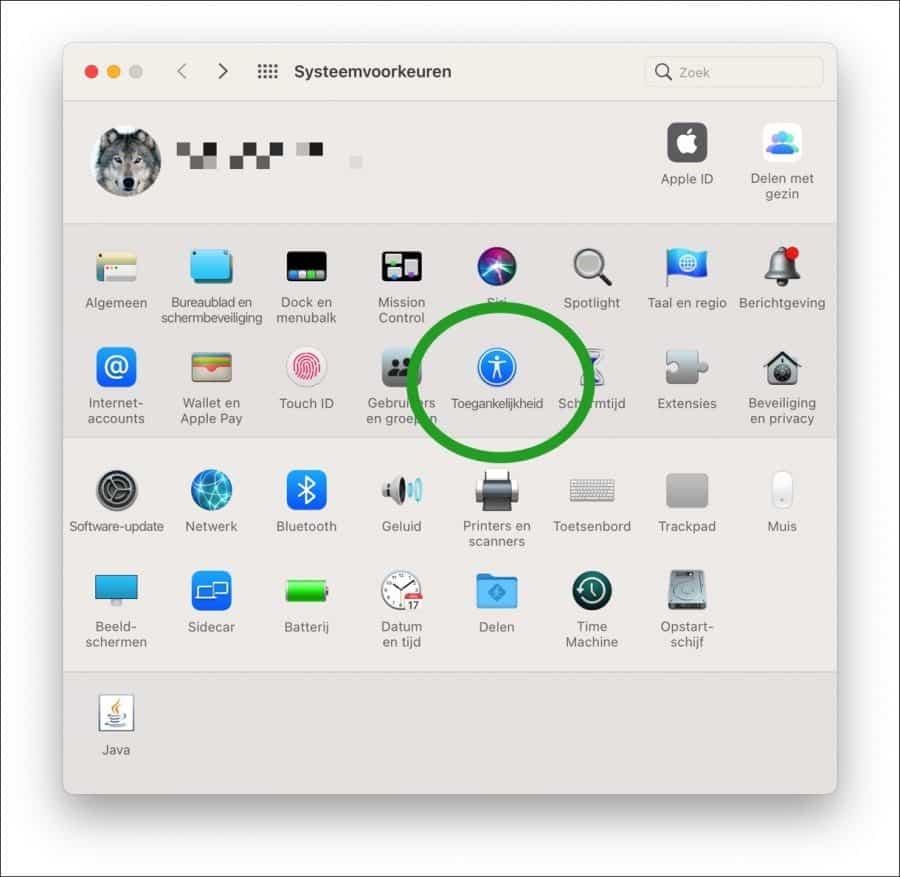 Toegankelijkheids instellingen mac