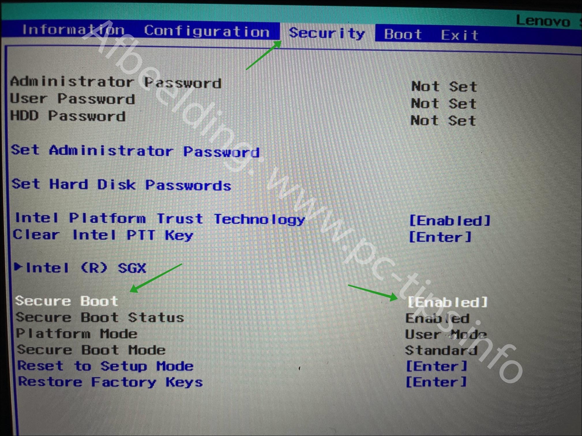 UEFI instellingen in de BIOS TPM en Secure Boot inschakelen