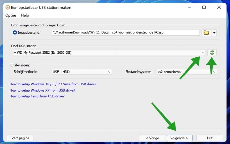 USB schijf station selecteren voor windows 11 installatie