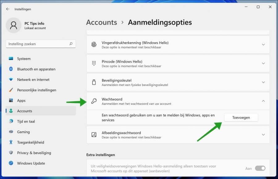 Wachtwoord toevoegen aan gebruikersaccount in Windows 11