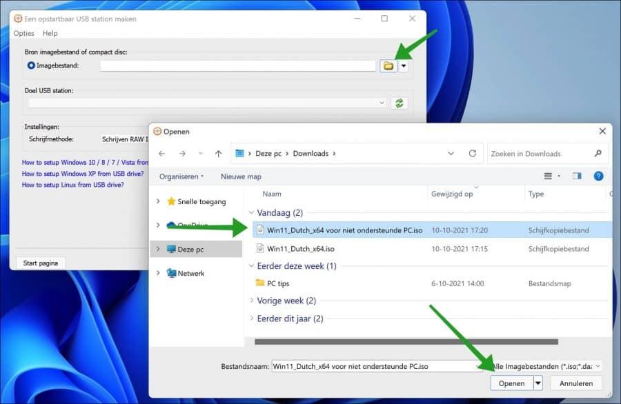 Windows 11 iso bestand selecteren voor usb