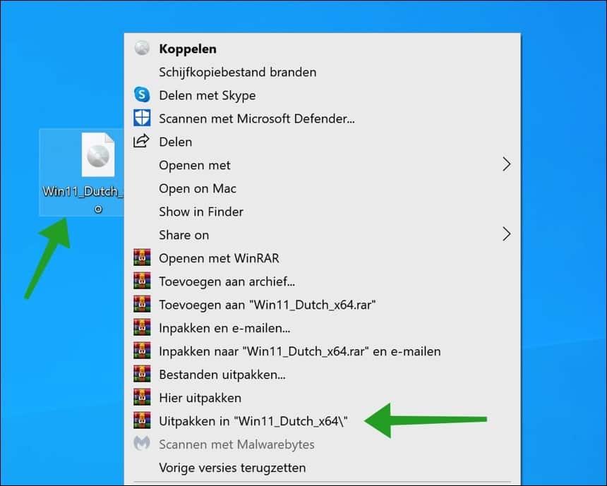 Windows 11 iso uitpakken