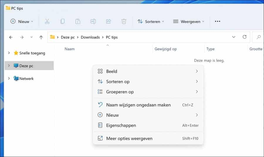 Windows 11 rechtermuisknop menu