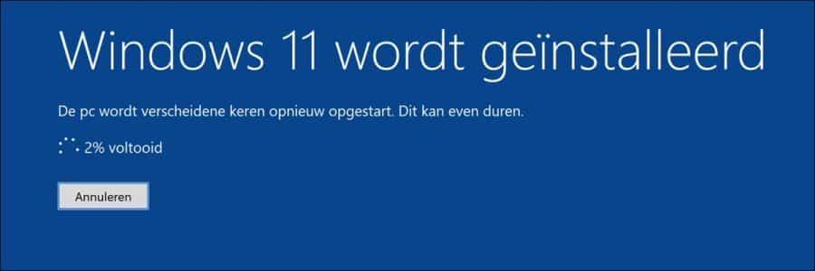Windows 11 wordt geinstalleerd