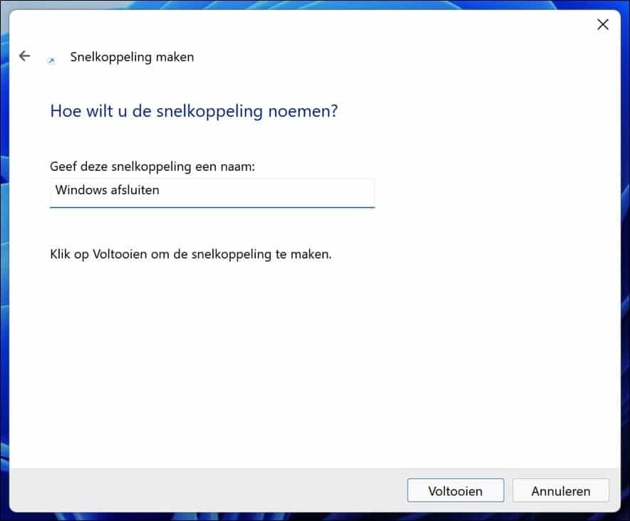 Windows afsluiten met snelkoppeling